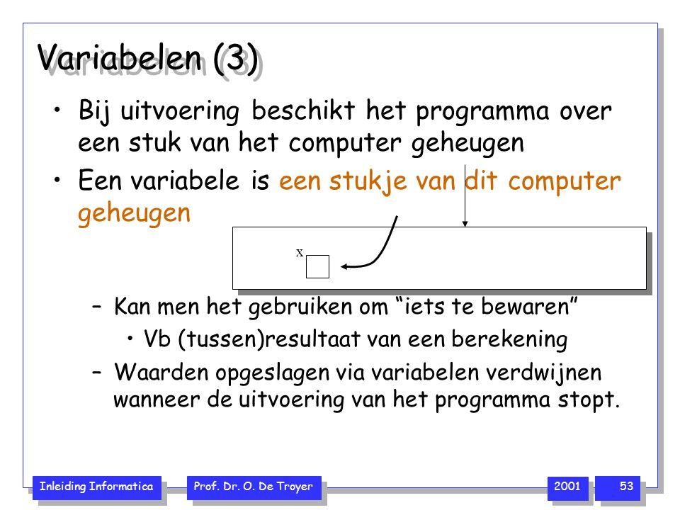 Variabelen (3) Bij uitvoering beschikt het programma over een stuk van het computer geheugen. Een variabele is een stukje van dit computer geheugen.