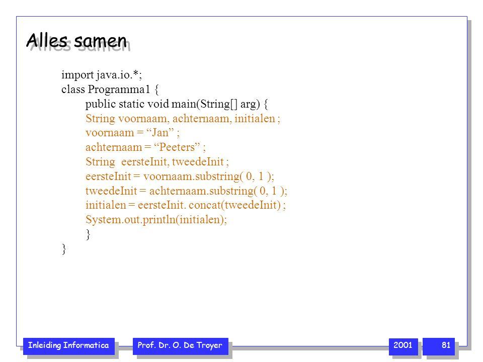 Alles samen import java.io.*; class Programma1 {