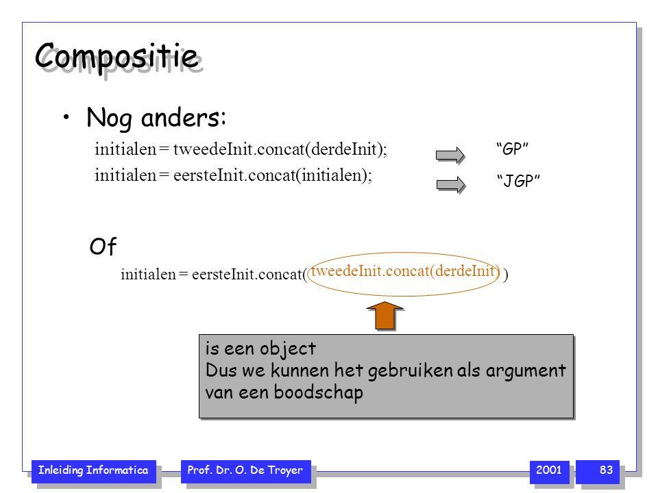 Compositie Nog anders: Of initialen = tweedeInit.concat(derdeInit);