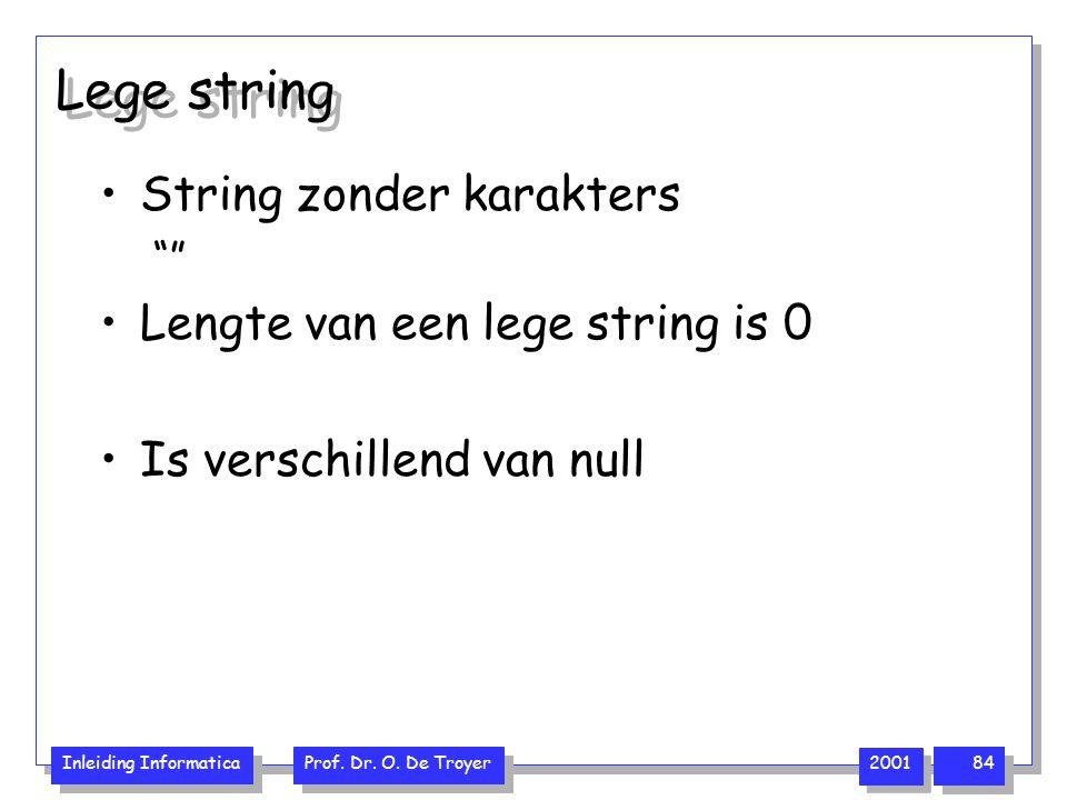 Lege string String zonder karakters Lengte van een lege string is 0