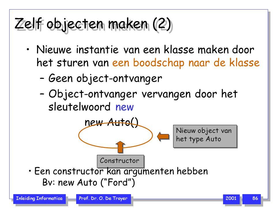 Zelf objecten maken (2) Nieuwe instantie van een klasse maken door het sturen van een boodschap naar de klasse.
