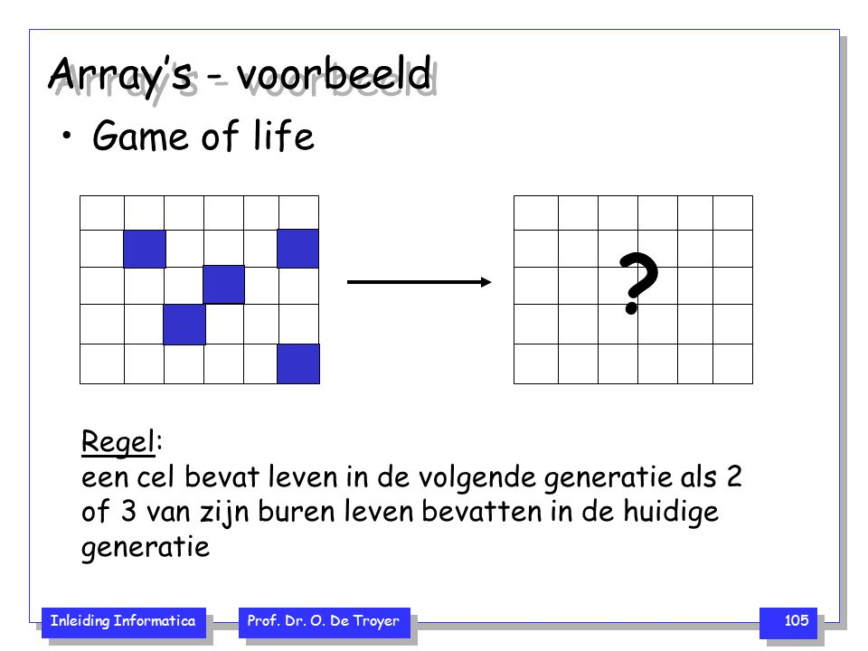 Array's - voorbeeld Game of life Regel: