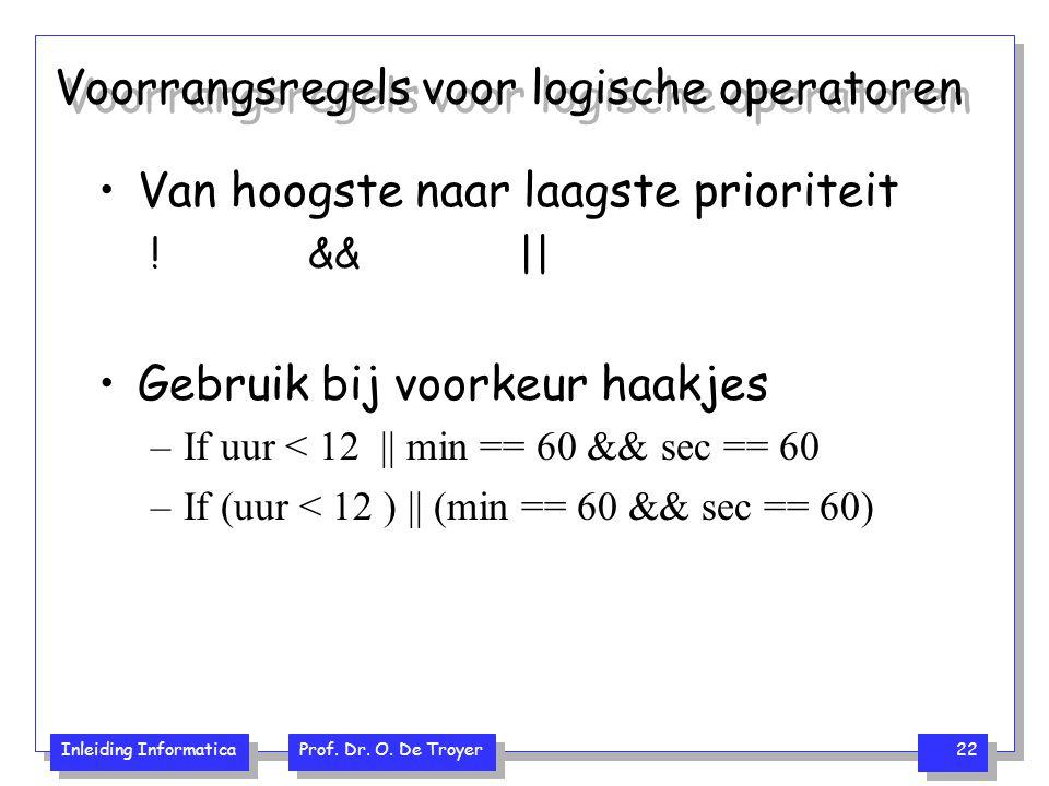 Voorrangsregels voor logische operatoren