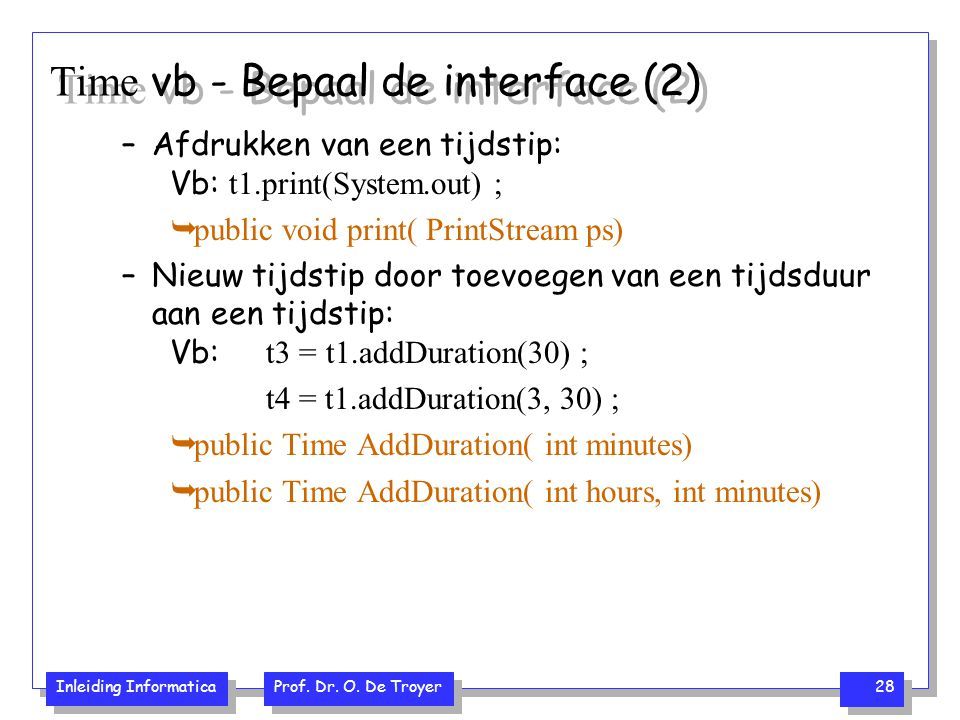 Time vb - Bepaal de interface (2)