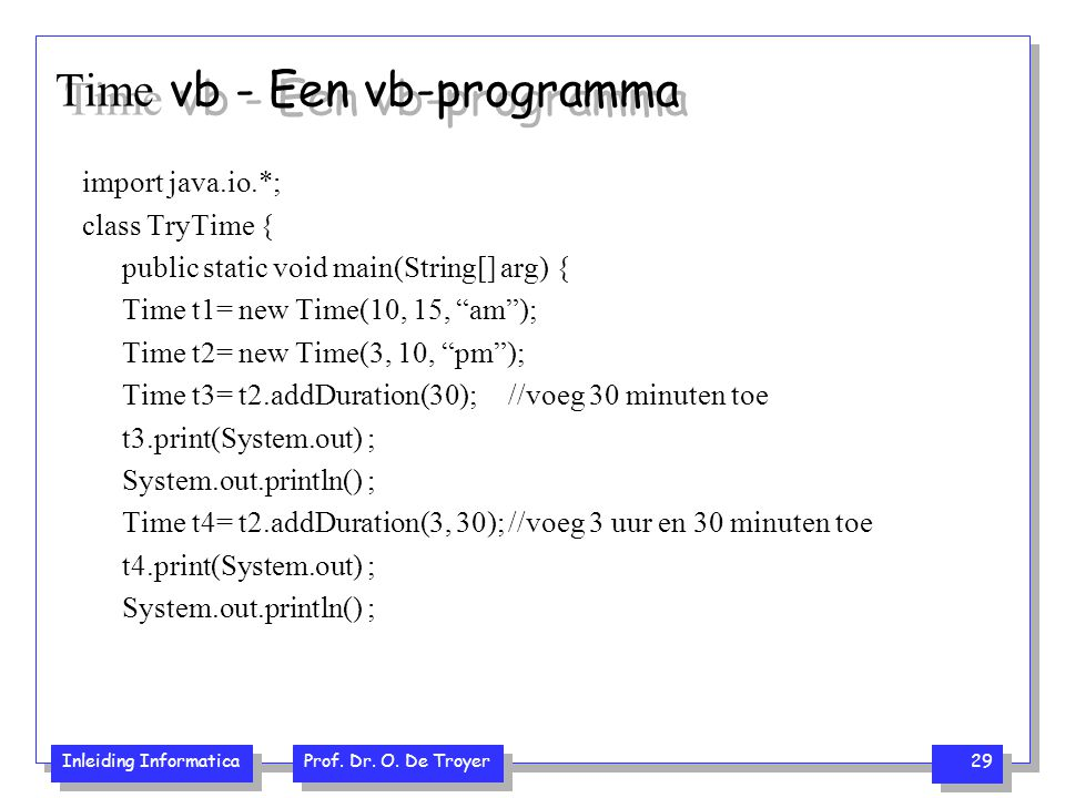 Time vb - Een vb-programma