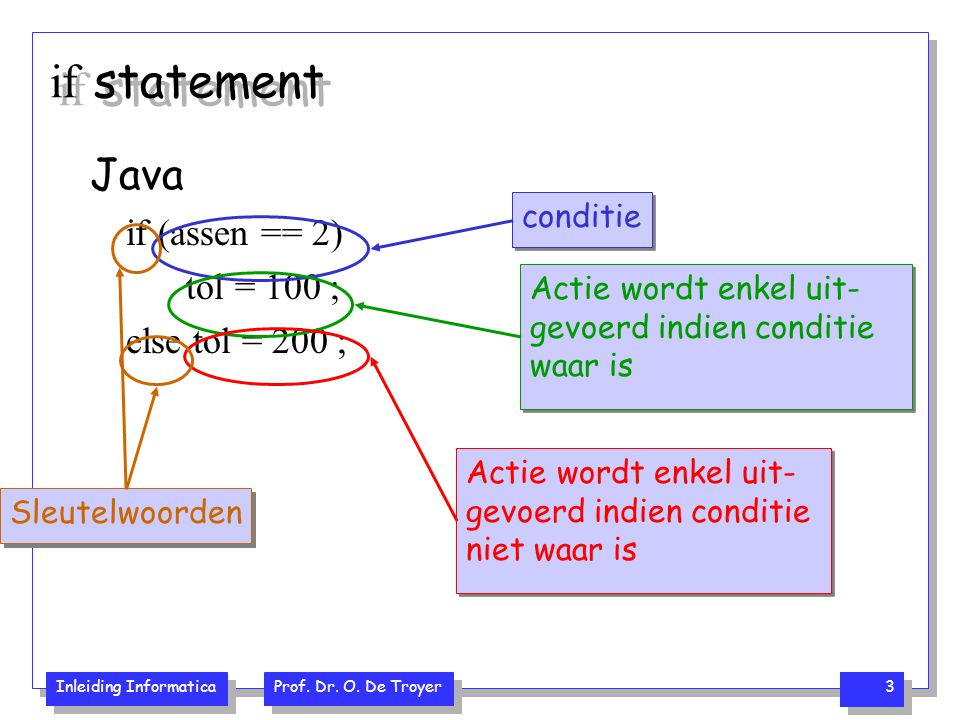 if statement Java if (assen == 2) tol = 100 ; else tol = 200 ;