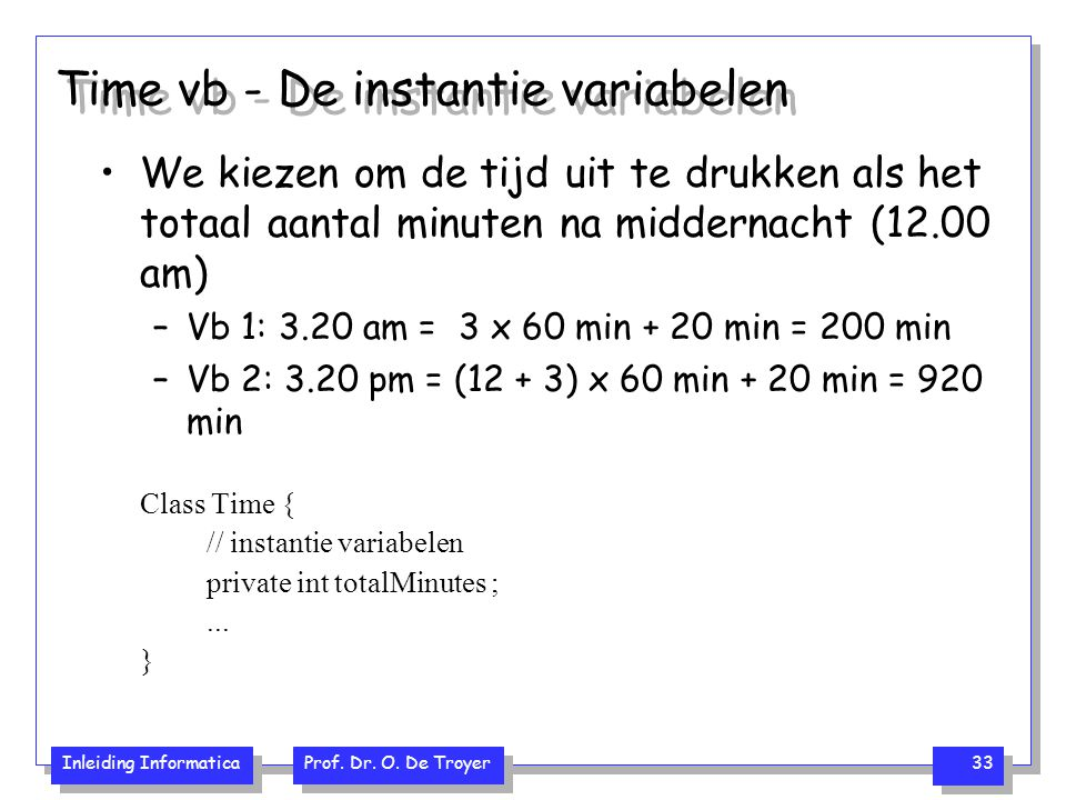 Time vb - De instantie variabelen