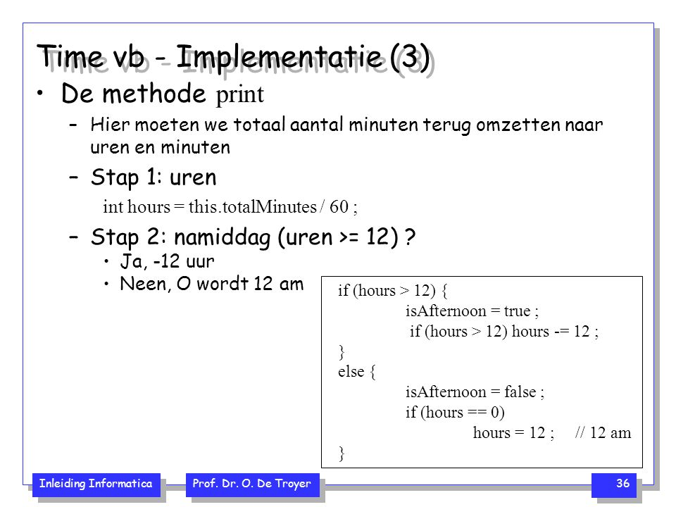 Time vb - Implementatie (3)