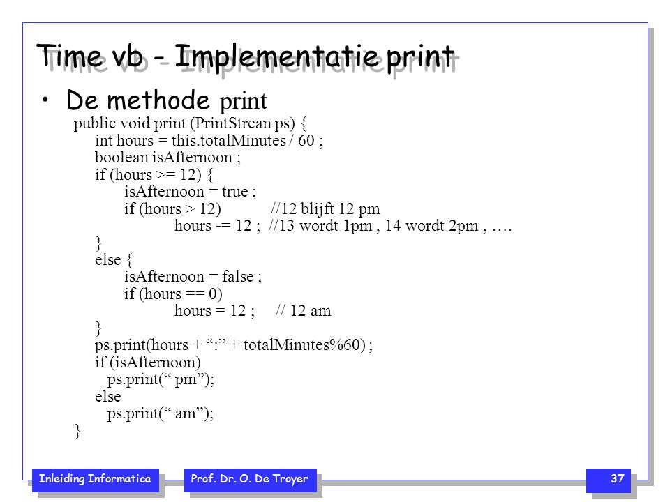 Time vb - Implementatie print
