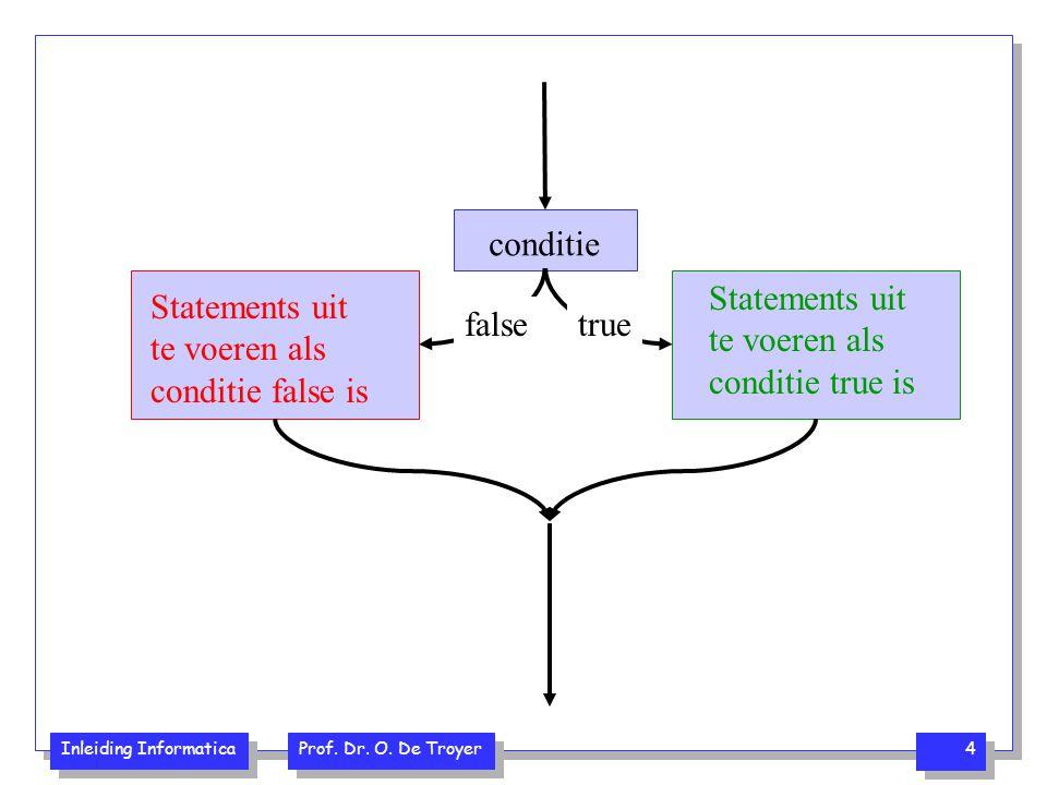 conditie Statements uit te voeren als conditie true is. Statements uit te voeren als conditie false is.