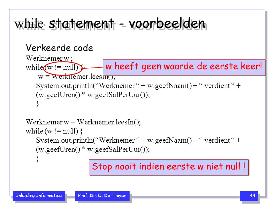 while statement - voorbeelden