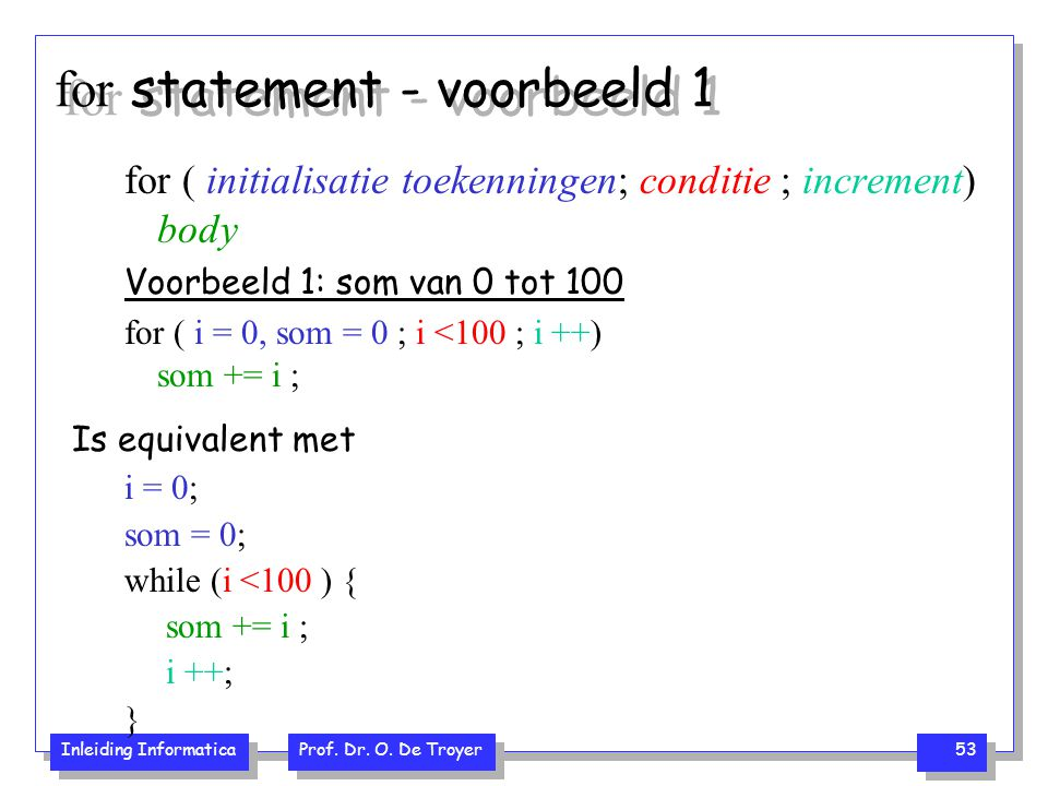 for statement - voorbeeld 1