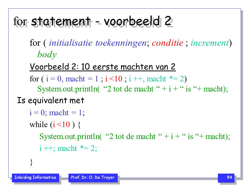 for statement - voorbeeld 2