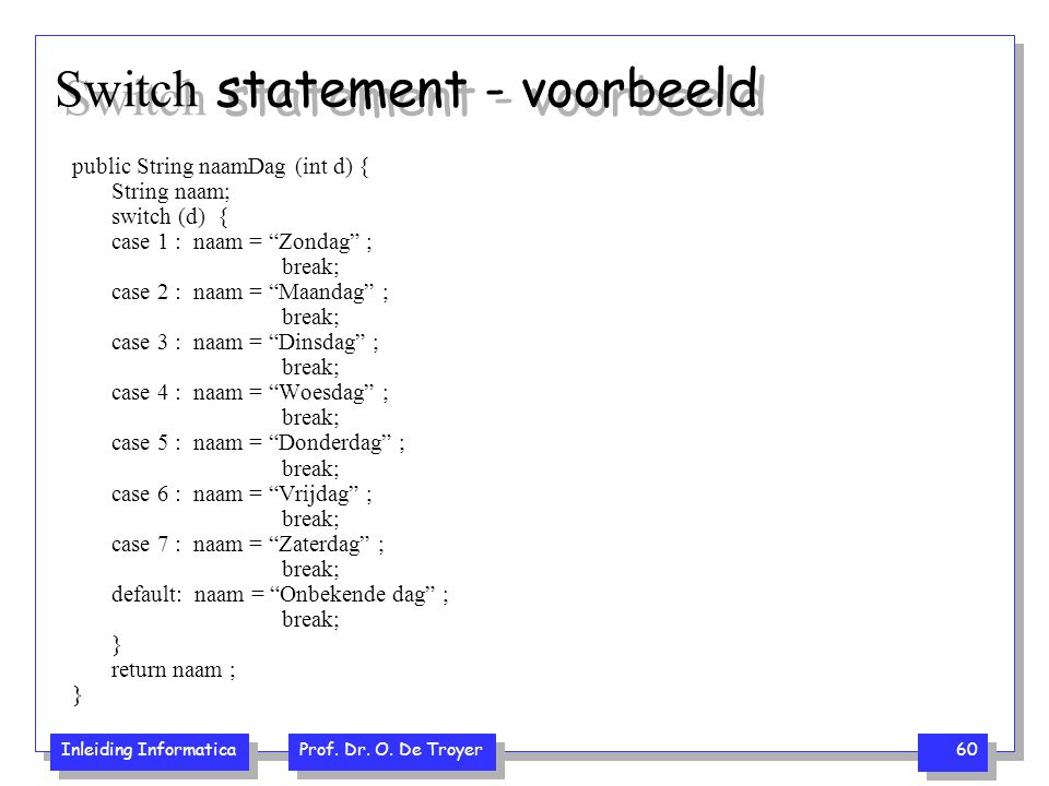 Switch statement - voorbeeld