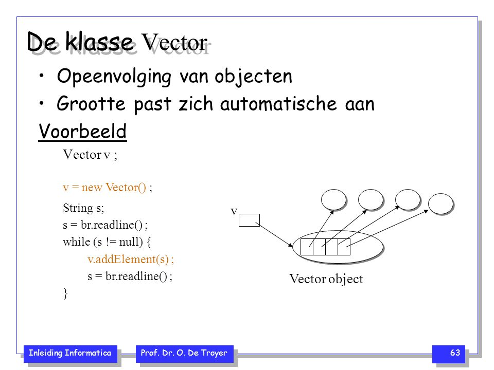 De klasse Vector Opeenvolging van objecten