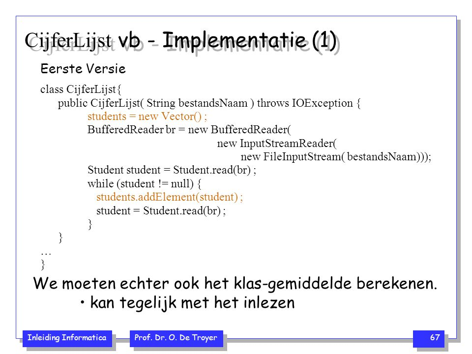 CijferLijst vb - Implementatie (1)
