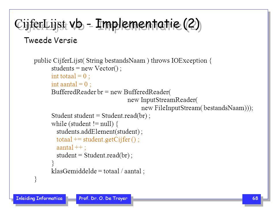 CijferLijst vb - Implementatie (2)