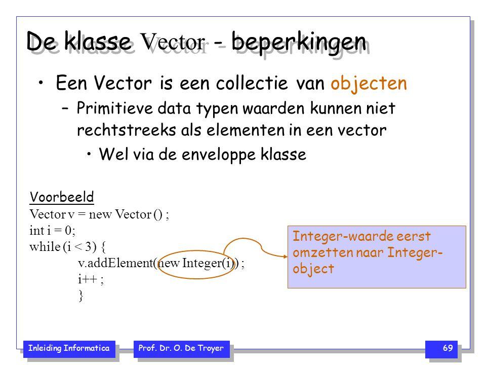 De klasse Vector - beperkingen