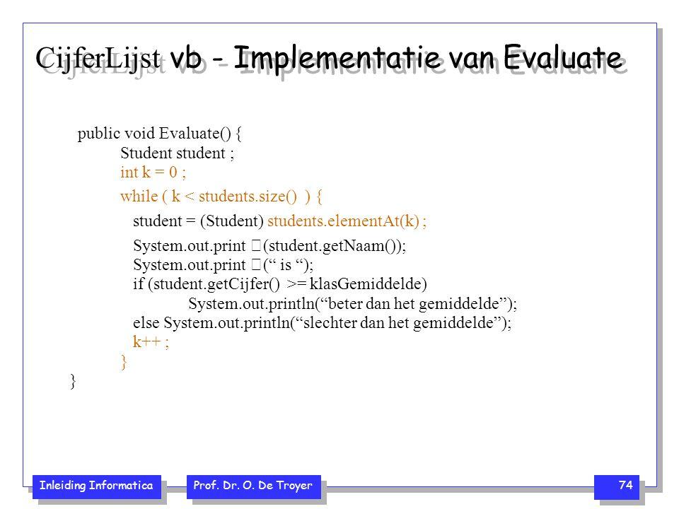 CijferLijst vb - Implementatie van Evaluate