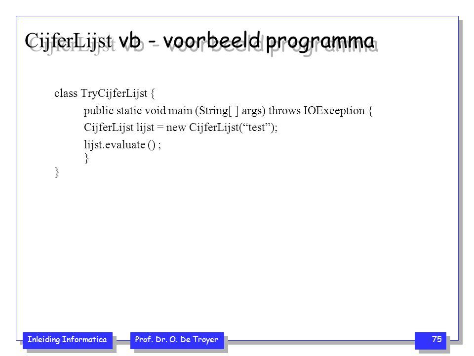 CijferLijst vb - voorbeeld programma