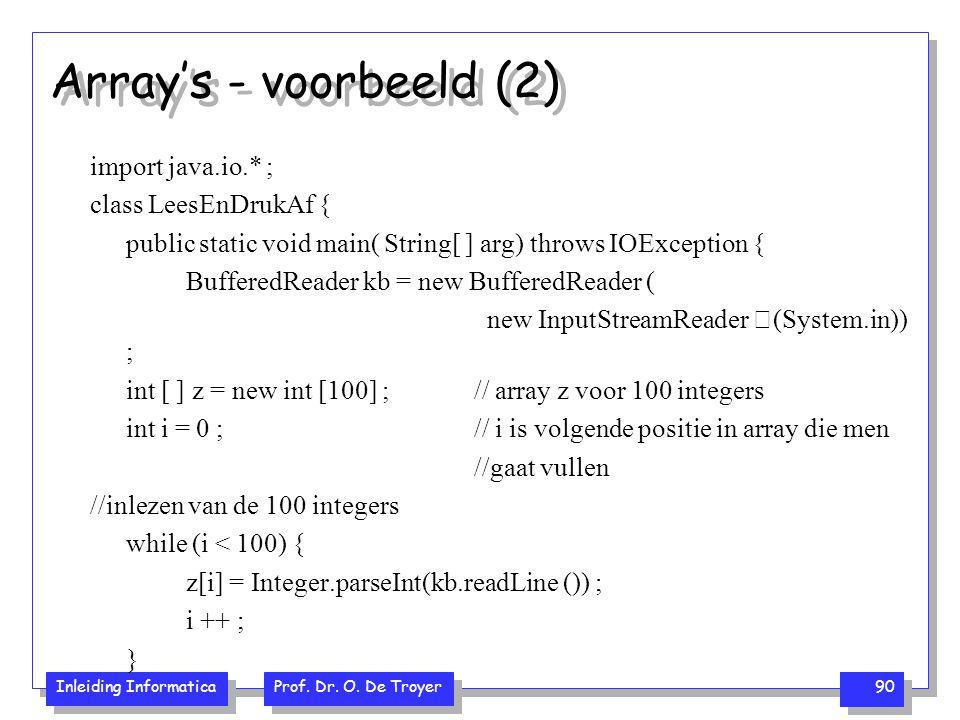 Array's - voorbeeld (2) import java.io.* ; class LeesEnDrukAf {