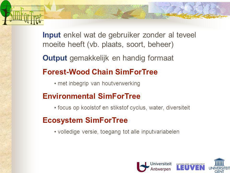 Output gemakkelijk en handig formaat Forest-Wood Chain SimForTree