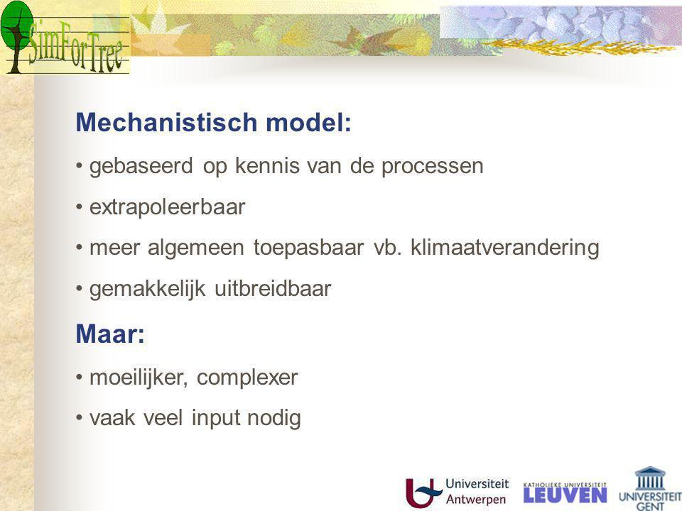 Mechanistisch model: Maar: gebaseerd op kennis van de processen