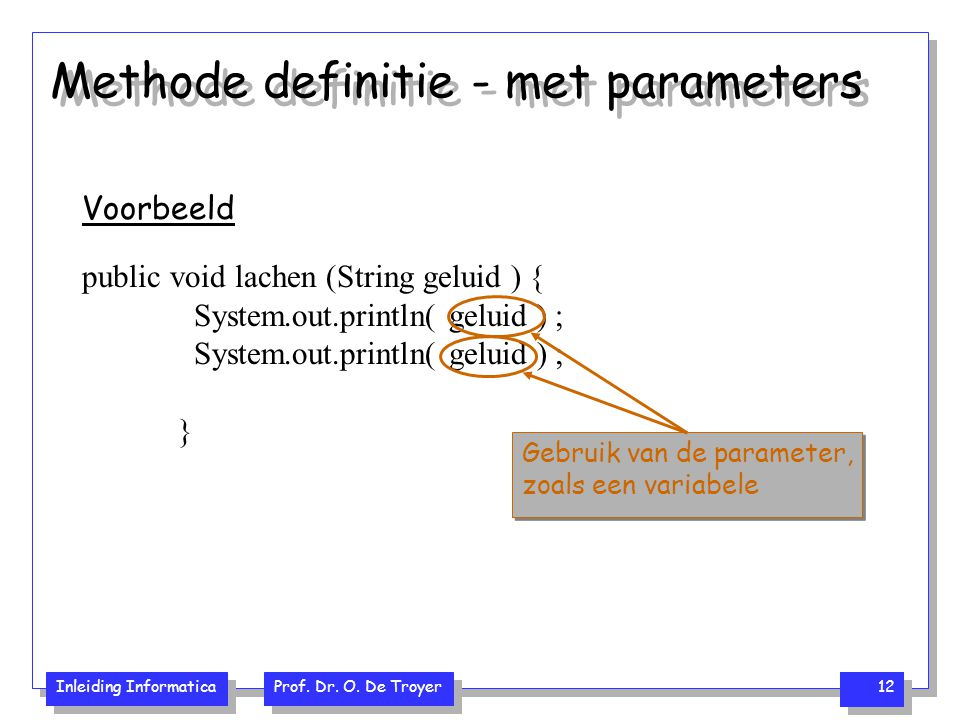 Methode definitie - met parameters