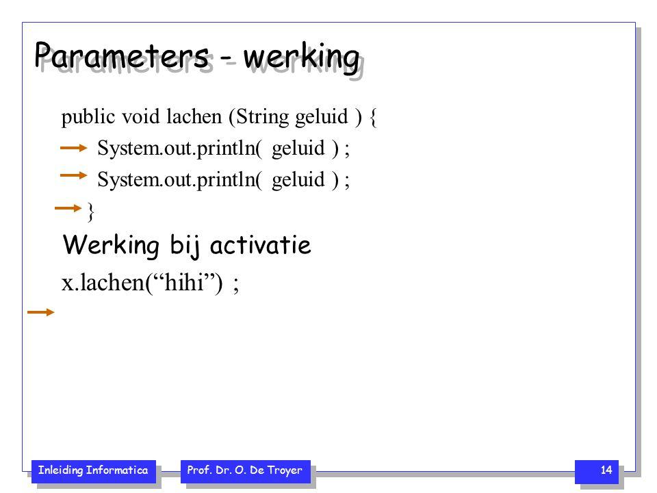Parameters - werking Werking bij activatie x.lachen( hihi ) ;