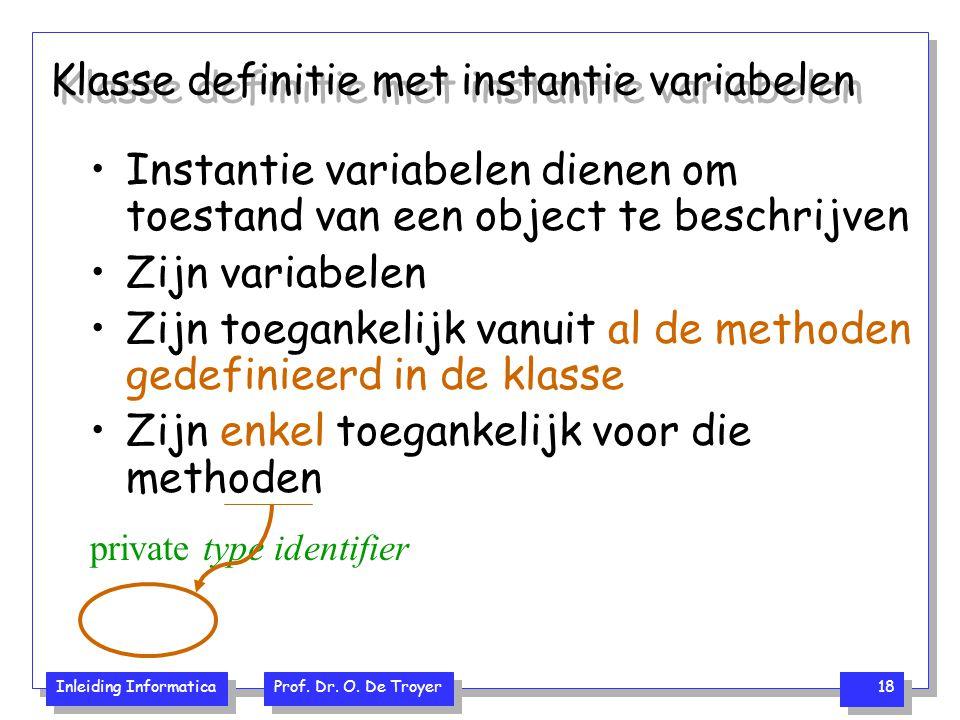 Klasse definitie met instantie variabelen