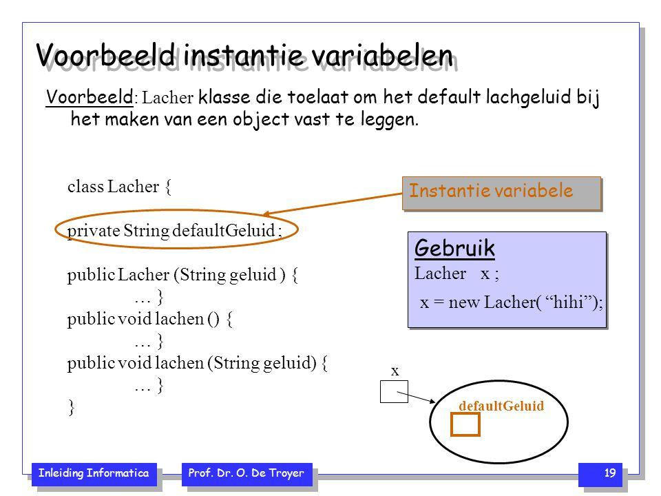 Voorbeeld instantie variabelen