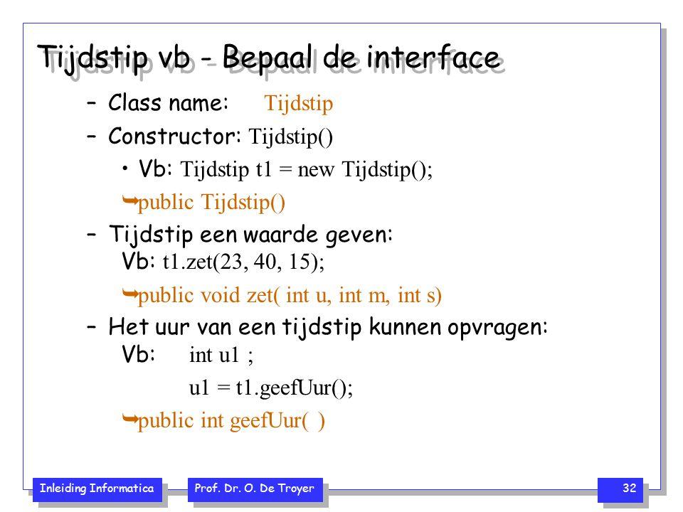 Tijdstip vb - Bepaal de interface