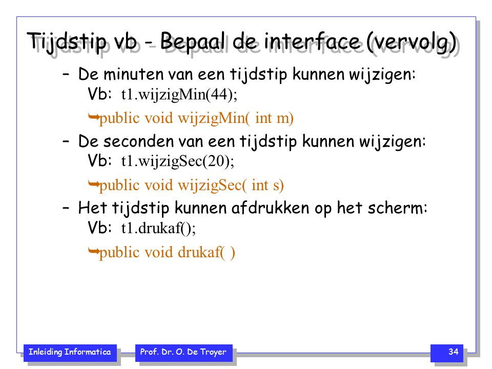 Tijdstip vb - Bepaal de interface (vervolg)
