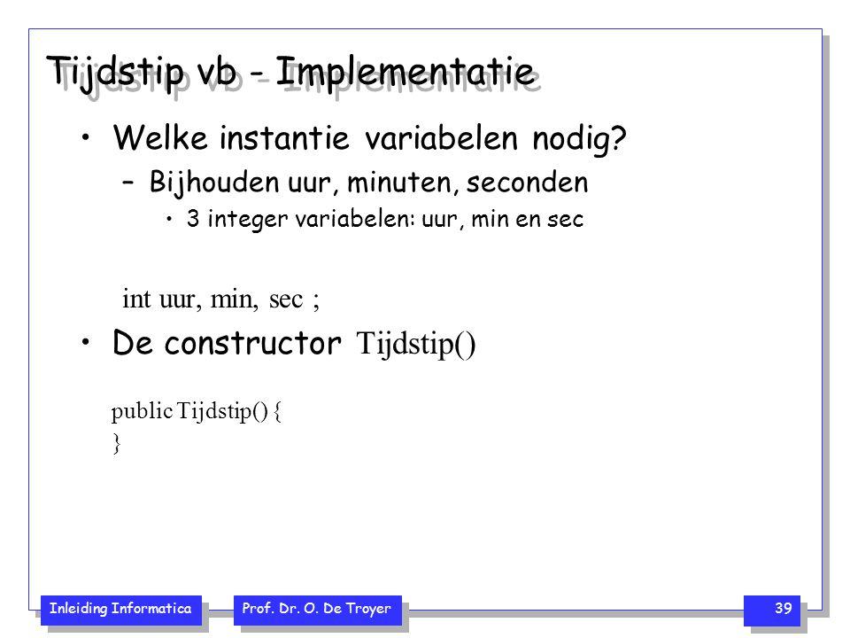 Tijdstip vb - Implementatie