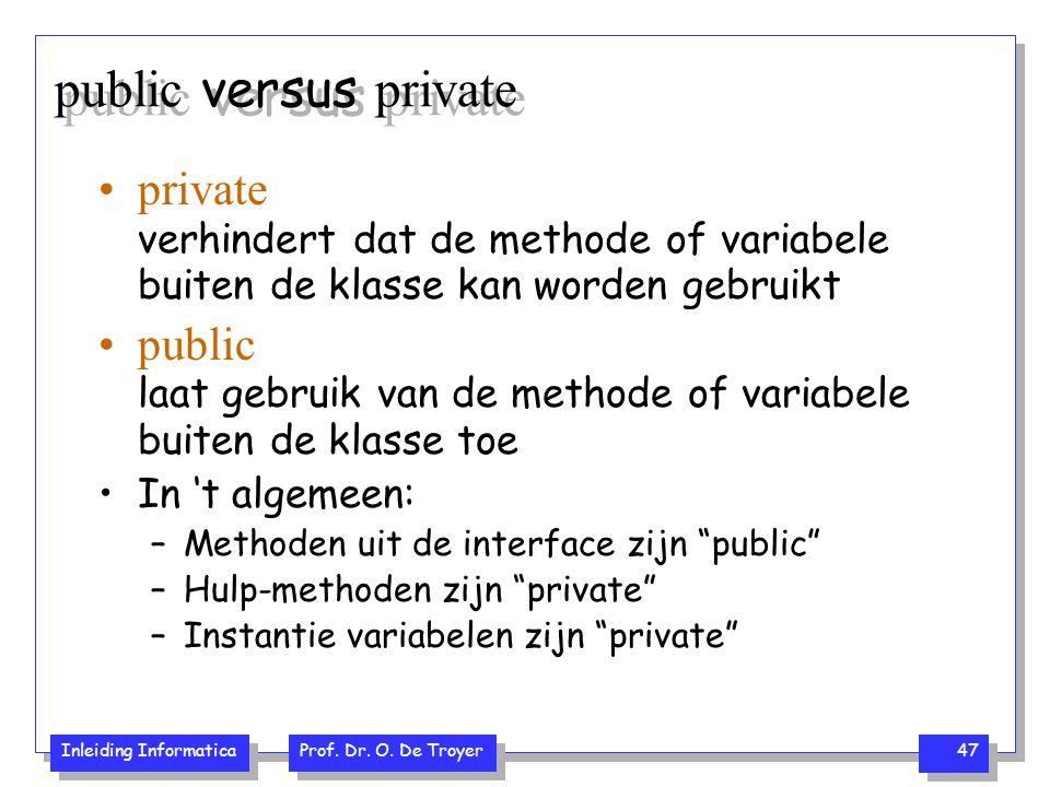 public versus private private verhindert dat de methode of variabele buiten de klasse kan worden gebruikt.