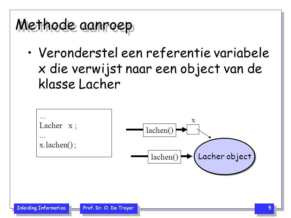 Methode aanroep Veronderstel een referentie variabele x die verwijst naar een object van de klasse Lacher.