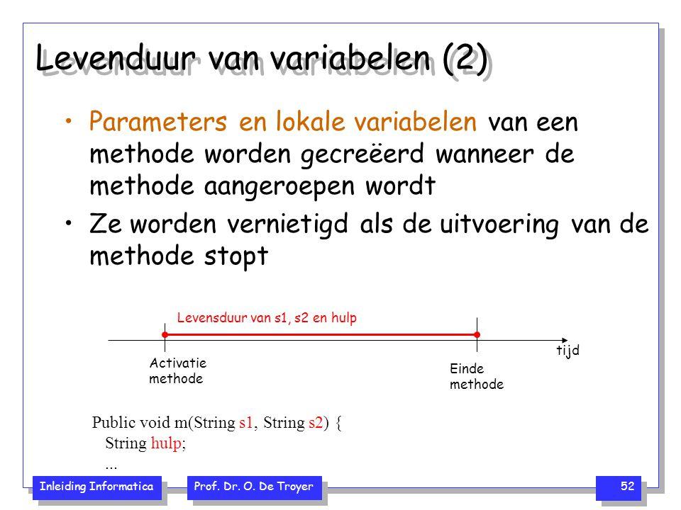Levenduur van variabelen (2)