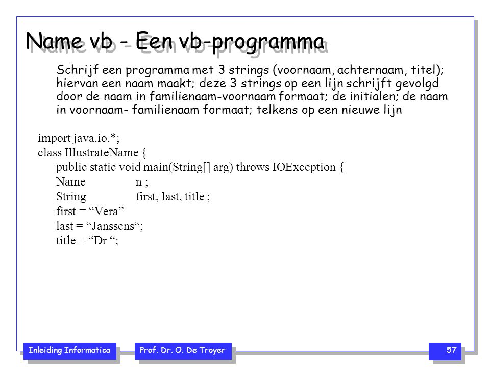Name vb - Een vb-programma