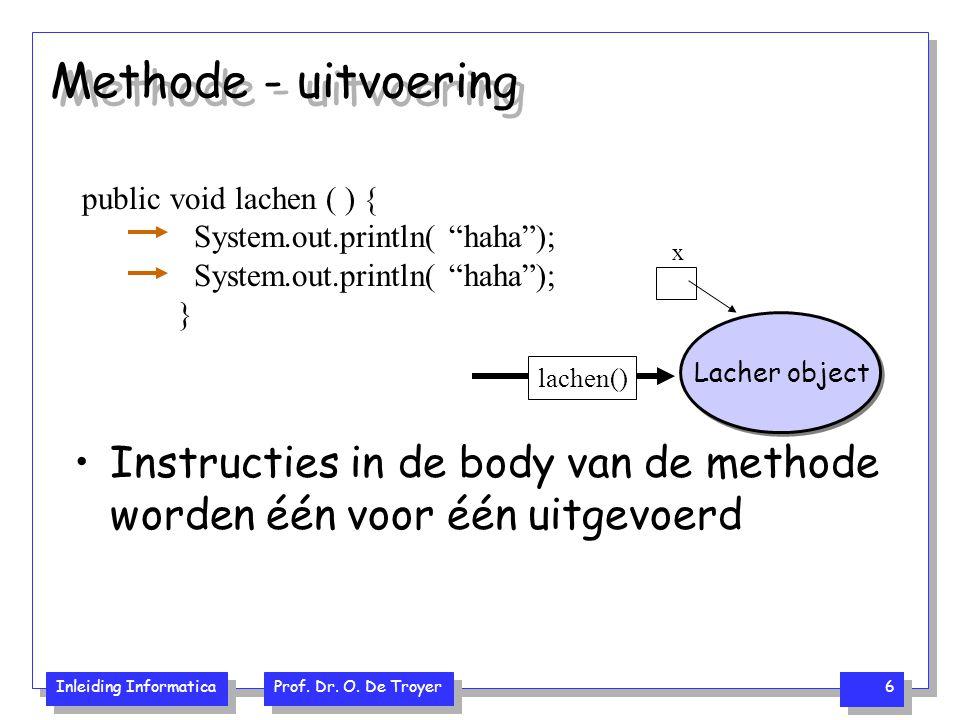 Methode - uitvoering public void lachen ( ) { System.out.println( haha ); } x. Lacher object. lachen()