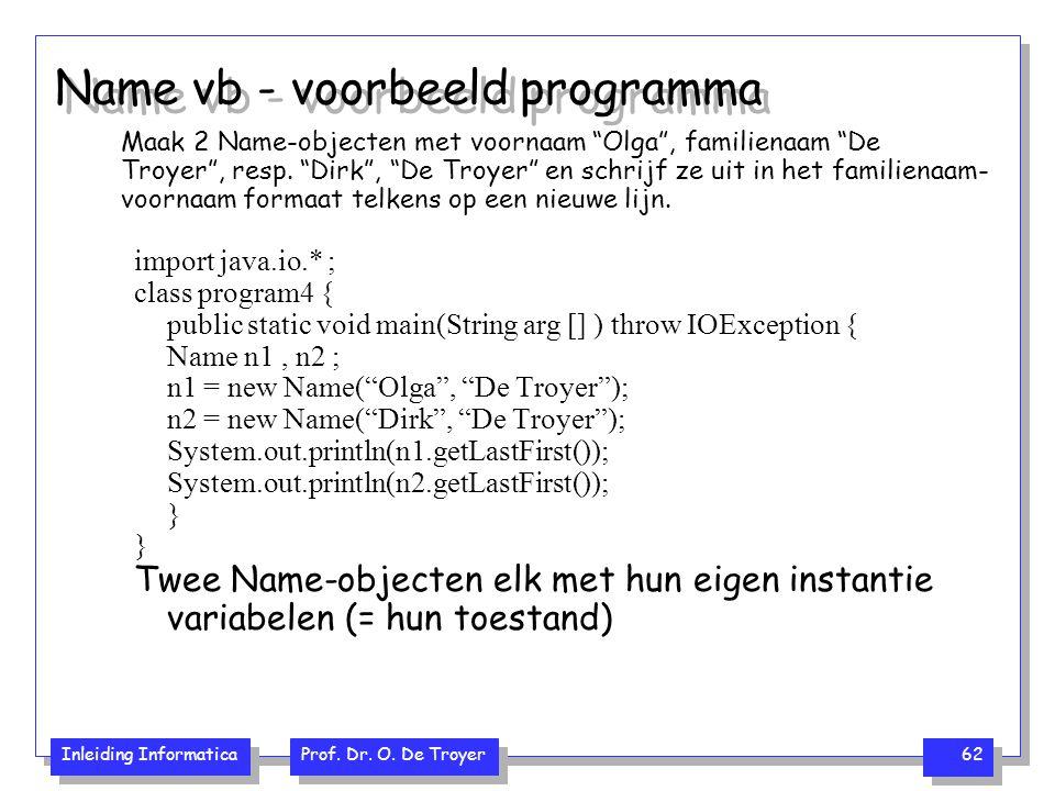Name vb - voorbeeld programma