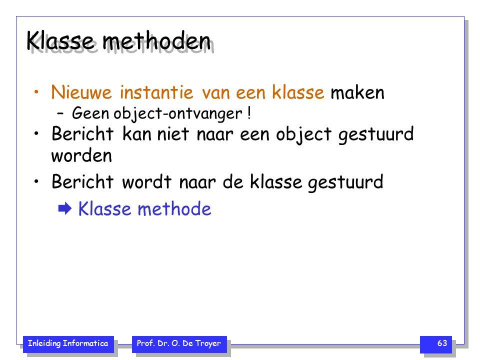 Klasse methoden Nieuwe instantie van een klasse maken
