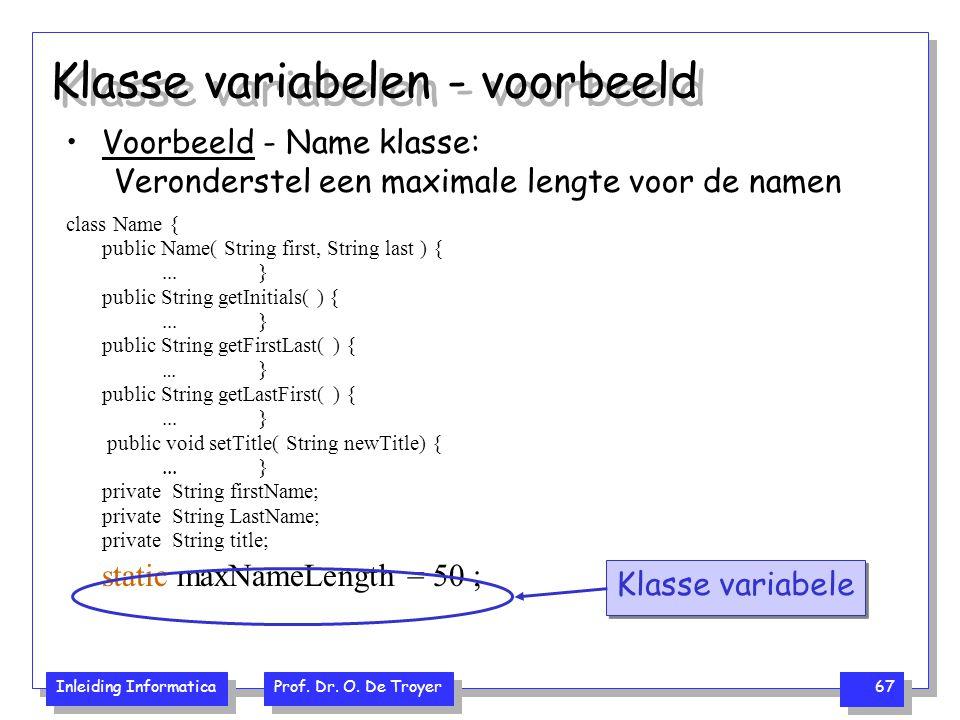 Klasse variabelen - voorbeeld
