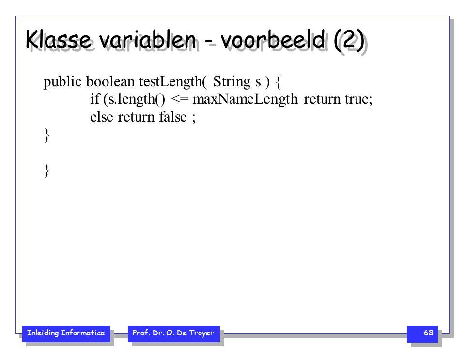 Klasse variablen - voorbeeld (2)