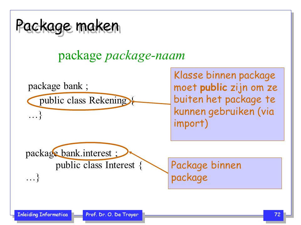 Package maken package package-naam package bank ;