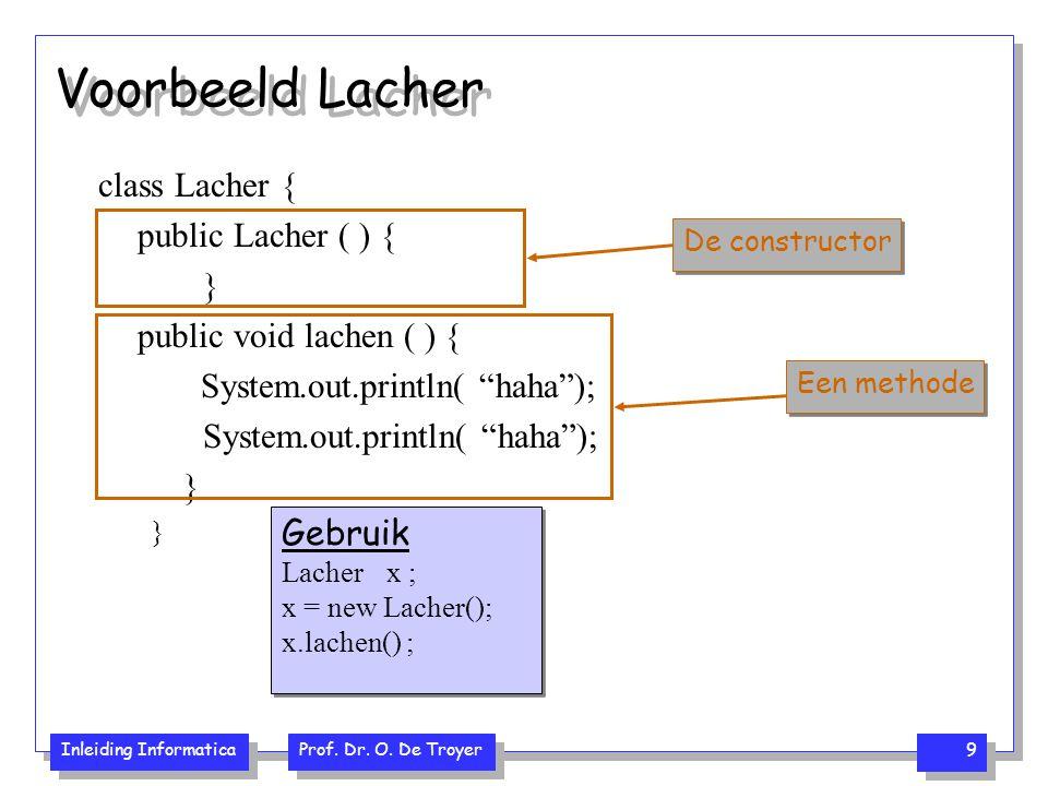 Voorbeeld Lacher class Lacher { public Lacher ( ) { }