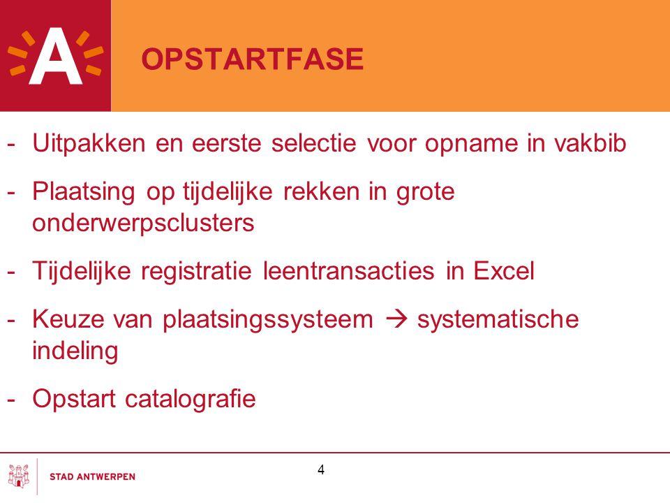 OPSTARTFASE Uitpakken en eerste selectie voor opname in vakbib