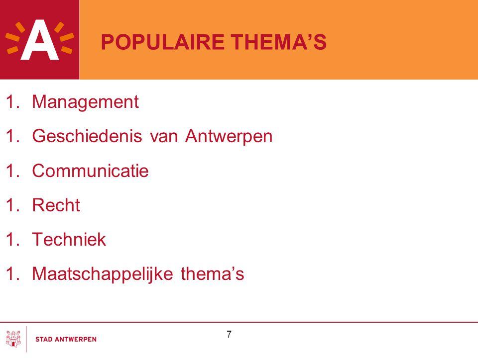 POPULAIRE THEMA'S Management Geschiedenis van Antwerpen Communicatie