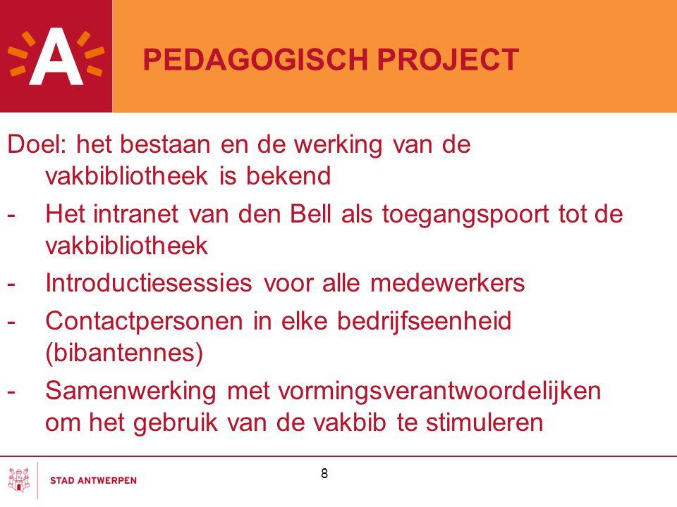 PEDAGOGISCH PROJECT Doel: het bestaan en de werking van de vakbibliotheek is bekend.