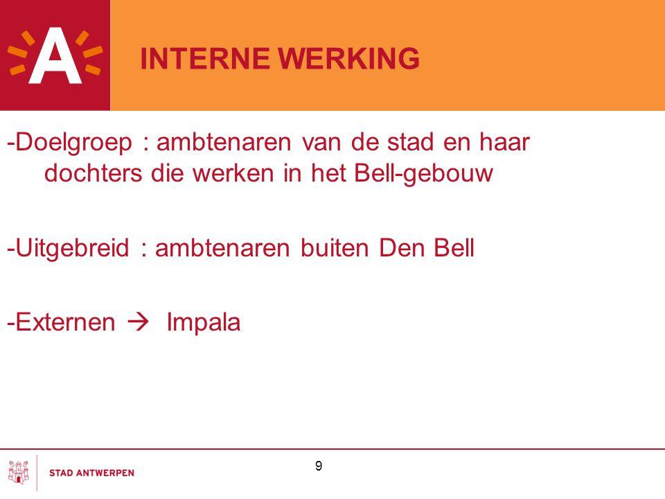 INTERNE WERKING -Doelgroep : ambtenaren van de stad en haar dochters die werken in het Bell-gebouw.