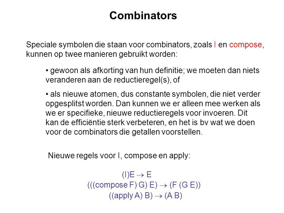 Combinators Speciale symbolen die staan voor combinators, zoals I en compose, kunnen op twee manieren gebruikt worden: